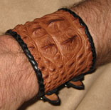 Hand Braided & Handsewn Wristcuff Hornback Alligator Matte Finish (Brown)