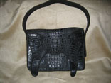 Handmade (Sewn & Braided) Single Skin Matte Black Hornback Crocodile Handbag (Front View)