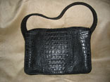 Handmade (Sewn & Braided) Single Skin Matte Black Hornback Crocodile Handbag (Back View)