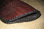 "Handmade Chocolate Caiman Alligator Clutch Purse Magnetic Closure (11"" x 4"" x 3"") w/ Black Doeskin Lining & Hand Cut Doeskin Leather Braiding (Side View)"
