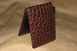 Handsewn Matte Chocolate Alligator Business Card Holder (Front View)