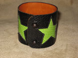 Handmade Black Lizard with Green Lizard Star Inlay w/ Ball Rivet Closure