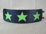 Handmade Black Lizard with Green Lizard Star Inlay w/ Ball Rivet Closure (Full View)