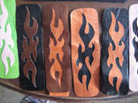 Assorted Handmade Black/Brown Lizard Flame Overlay Wristcuffs
