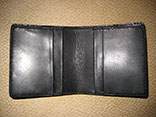 Handsewn Matte Black Alligator Bifold Wallet /w Kangaroo Leather Lining (Inside View)