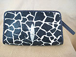 Handmade Giraffe Print Stingray Clutch Purse w/Magnetic Closure w/Ostrich Leather Lining w/Black Glazed Finish Alligator Inside Pocket w/Hand Braided Leather Edge w/Logo ID Tag (Front View)