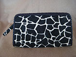 Handmade Giraffe Print Stingray Clutch Purse w/Magnetic Closure w/Ostrich Leather Lining w/Black Glazed Finish Alligator Inside Pocket w/Hand Braided Leather Edge w/Logo ID Tag (Back View)