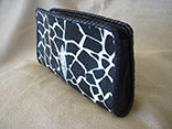 Handmade Giraffe Print Stingray Clutch Purse w/Magnetic Closure w/Ostrich Leather Lining w/Black Glazed Finish Alligator Inside Pocket w/Hand Braided Leather Edge w/Logo ID Tag (Side View)