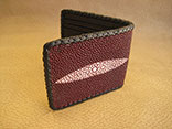 "Handmade Burgundy Stingray Bifold Wallet w/Black Kangaroo Lining, Billfold and Pockets.  Black Doe Kid Leather Hand Braided Edge.  Hand sewn credit card dividers (4).  9"" x 3.5"""
