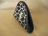 "Handmade Giraffe Print Stingray Clutch Bag. 7.5""W X 6.5""H X 1.5""D. w/ Inside Alligator Pocket & Hand-Braided Edge Finish & Magnetic Closure (Side View)"
