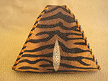 "Handmade Tiger Print Stingray Clutch Bag. 7.5""W X 6.5""H X 1.5""D.  Inside Alligator Pocket.  Black And Tan Doe Kid Leather Edge Braiding And Strap.  Magnetic Closure. (Front View)"