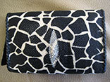 "Handmade Giraffe Print Stingray Clutch Flap Bag. 9""W X 5.5""H X 1.5""D.  Black Kangaroo Lining With Inside Alligator Pocket.  Black Doe Kid Leather Edge Braiding.  Magnetic Closure.  PHD Logo ID Tag. (Front View)"