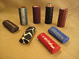 Handmade Assorted Exotic Leather BIC Lighter Covers.  American Alligator, Crocodile, Stingray Print & Multi-Spine.