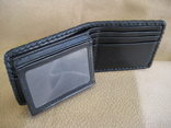 Handmade Black Stingray Men's Bi-Fold Wallet w/Two Sided ID Window; Black Kangaroo Lining And Pockets; Black Doe Kid Braided Edge Finish (Inside View)