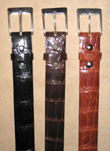 "Classic Alligator 1 1/4"" Belts w/ Solid Sterling Silver Buckle (Black, Chocolate, Cognac)"