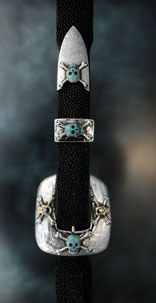 Turquoise Skull Stingray Belt